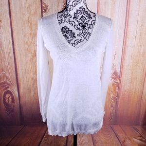🍾 Gap Linen Blend Cream Sweater Size XS